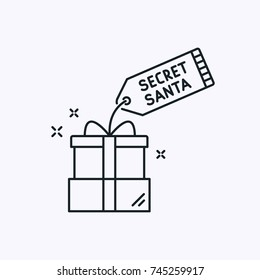 Secret Santa Vector Thin Line Simple Icon. Christmas Outline Illustration with Holiday Gift.