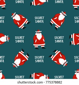 Secret Santa wrapping paper seamless pattern