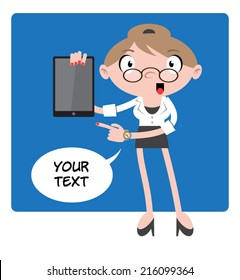 Secretary Cartoon Character #01 - The secretary is standing alone with a text bubble, holding a tablet and pointing to it
