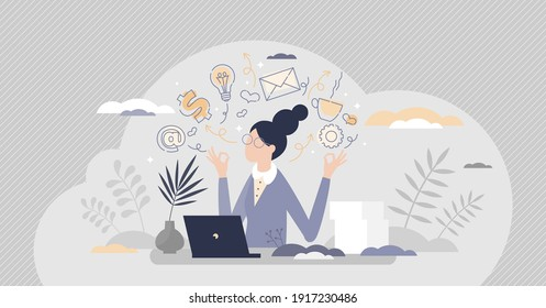 Secretary occupation as professional assistant in office tiny person concept. Female employee career work with communication and documents vector illustration. Woman receptionist job duties and tasks.