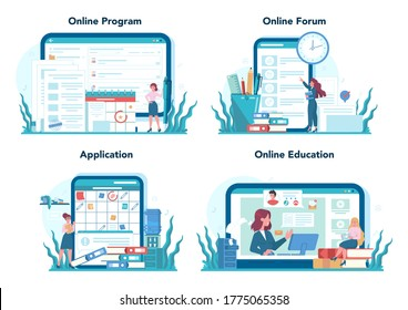 Secretary online service or platform set. Receptionist answering calls and assisting with document. Online program, forum, application, education. Isolated flat vector illustration