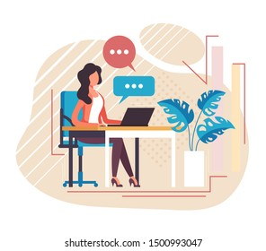Secretary receptionist office worker character working. Vector flat cartoon graphic design illustration