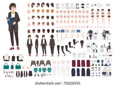 Secretary woman creation set or DIY kit. Collection of female cartoon character's body parts, face expressions, gestures, clothing and accessories isolated on white background. Vector illustration.
