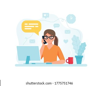 Secretary woman sitting at a desk responding to a call. Vector illustration in flat style