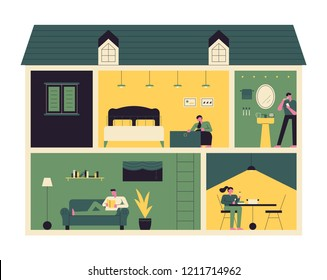 Section view inside the house. A space that shows people's lifestyle. flat design style vector graphic illustration.