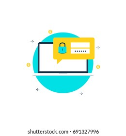 Secure account login flat vector illustration design. User interface login and account registration, website access authorization. Design for web banners and apps