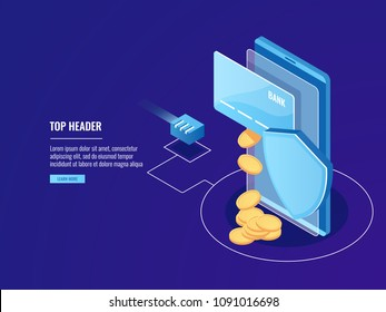 Secure Bank transfers via mobile device, online payment, credit card with smartphone and shield, electron money deposit isometric vector on blue background