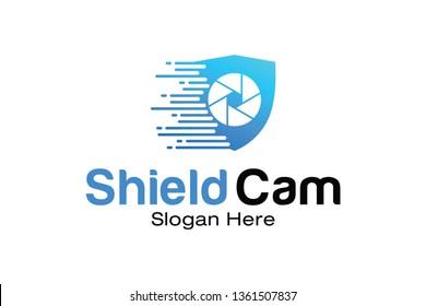 Secure Camera CCTV Logo Template Design Vector, Emblem, Concept Design, Creative Symbol, Icon