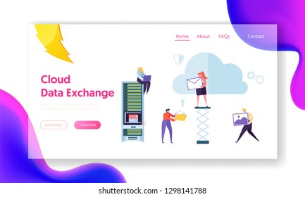 Secure Cloud Storage Info Exchange Landing Page. People Transmit Information, Image to Memory Service. Woman on Hosting Optimize Data Transfer Concept for Website Flat Cartoon Vector Illustration