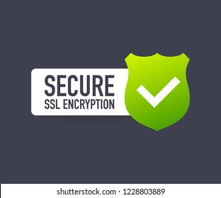 Secure connection icon vector illustration isolated on white background, flat style secured ssl shield symbols. Vector stock illustration.