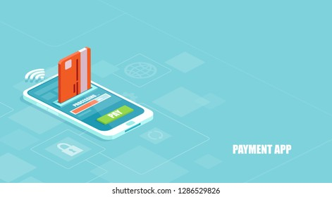 Secure and convenient e-payments concept. Vector of a payment being processed using a credit card on smartphone via a financial app