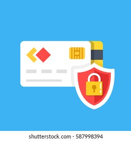 Secure credit card transaction. Secure payment, payment protection concepts. Credit card and shield with lock. Flat design graphic elements. Vector illustration