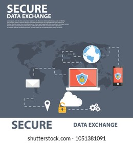 Secure Data Echange Flat icon Banner template