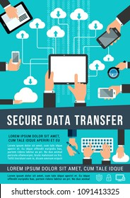Secure data transfer and internet cloud network share technology vector poster. Cloud sharing system or files storage and multimedia communication or information security flat design
