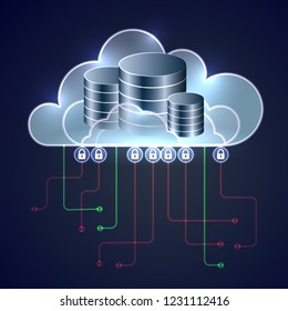 Secure database access, vector illustration of cloud database security