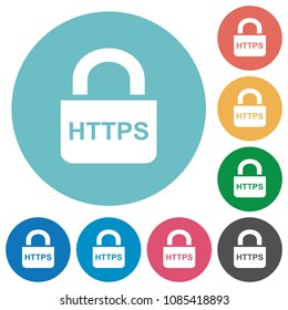 Secure http protocol flat white icons on round color backgrounds