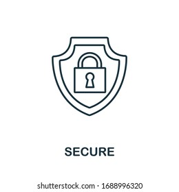 Secure icon from insurance collection. Simple line Secure icon for templates, web design and infographics
