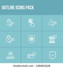 Secure icon set and global secure with access code, permission and access key. Admin key related secure icon vector for web UI logo design.