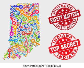 Secure Indiana State map and seal stamps. Red round Top Secret and Safety Matters grunge seal stamps. Bright Indiana State map mosaic of different lock icons. Vector combination for safety purposes.