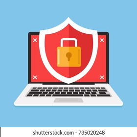 Secure laptop locked. Data and pirvate information protection concept. Vector flat cartoon illustration