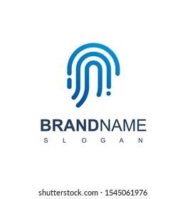 Secure Logo With Fingerprint Symbol