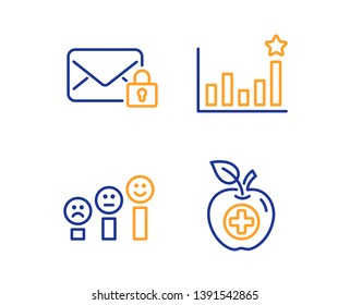 Secure mail, Efficacy and Customer satisfaction icons simple set. Medical food sign. Private e-mail, Business chart, Happy smile chart. Apple. Linear secure mail icon. Colorful design set. Vector