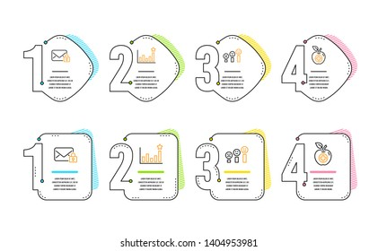 Secure mail, Efficacy and Customer satisfaction icons simple set. Medical food sign. Private e-mail, Business chart, Happy smile chart. Apple. Infographic timeline. Line secure mail icon. Vector