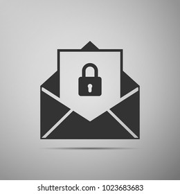 Secure mail icon isolated on grey background. Mailing envelope locked with padlock. Flat design. Vector Illustration