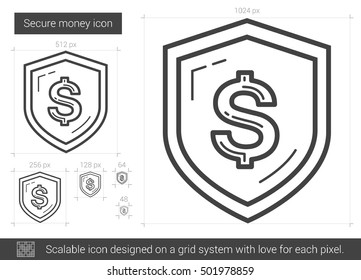 Secure money vector line icon isolated on white background. Secure money line icon for infographic, website or app. Scalable icon designed on a grid system.