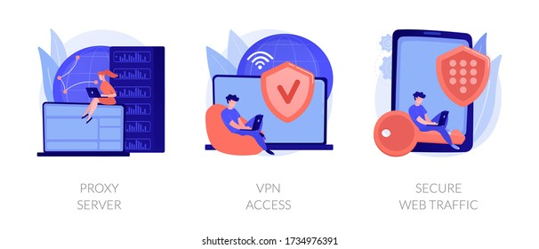 Secure network connection and privacy protection. Internet service provider. Intranet access. Proxy server, VPN access, secure web traffic metaphors. Vector isolated concept metaphor illustrations.
