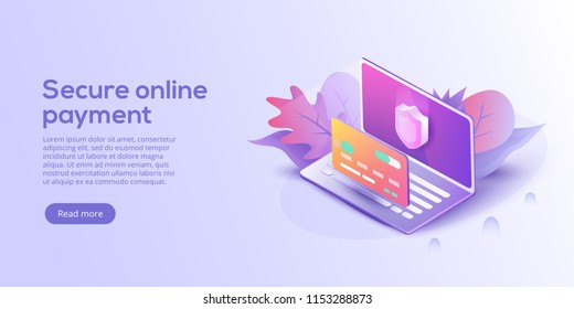 Secure online payment for e-commerce isometric vector illustration. Money transfer via Internet concept with laptop and credit card. Safe bank transaction app with id verification.