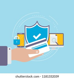 Secure online payment flat vector illustration design. Secure online shopping. Safe online money transfers. Internet purchase and transactions icon design for web banners and apps