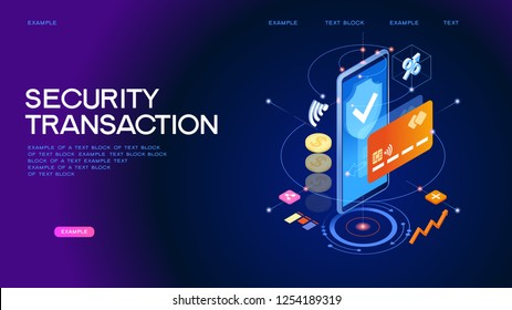 Secure online payment transaction. Internet banking with smartphone and credit card. Protection shopping wireless pay through smartphone. Page template. 3d isometric illustration