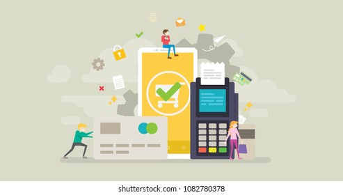 Secure Online Transaction Tiny People Character Concept Vector Illustration, Suitable For Wallpaper, Banner, Background, Card, Book Illustration, Web Landing Page, and Other Related Creative