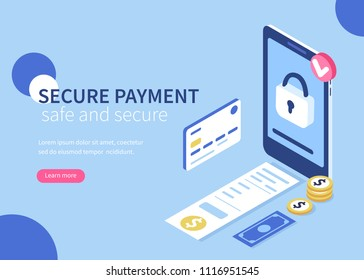 Secure payment  concept banner.  Flat isometric vector illustration isolated on white background.