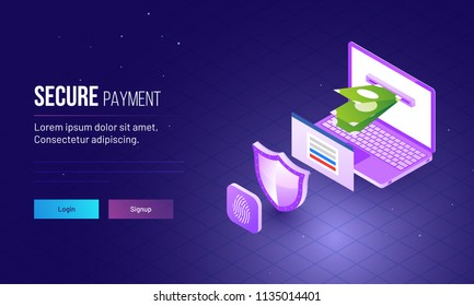 Secure Payment concept responsive website template with isometric view of laptop, security shield and login window on shiny grid view background.