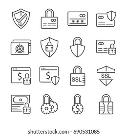 Secure payment line icon set. Included the icons as credit cad, safe, protection, ssl, encryption and more.