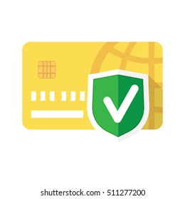 Secure payment sign, credit card protection, credit card with shield and green check vector illustration
