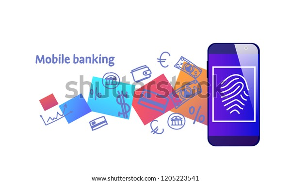 Secure Payment Touch Id Scan Mobile Stock Vector (Royalty