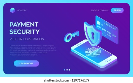 Secure payments. Data protection concept. Personal data protection. Credit card check and software access data as confidential. 3d isometric flat design. Vector illustration.