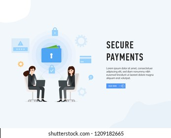 Secure payments web site page poster vector illustration. Women sitting opposite each other with laptops. Safe and easy e-payments using financial apps transaction is being processed using credit card