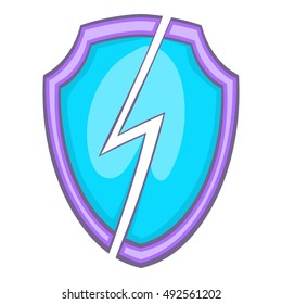 Secure shield with lightning icon in cartoon style isolated on white background vector illustration