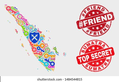 Secure Sumatra map and watermarks. Red rounded Top Secret and #Friend scratched watermarks. Colored Sumatra map mosaic of different secure items. Vector combination for safety purposes.