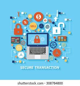 Secure transaction concept design on blue background,clean vector