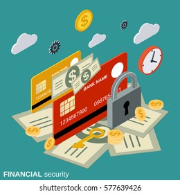 Secure transaction, financial security, money protection flat 3d isometric vector concept illustration
