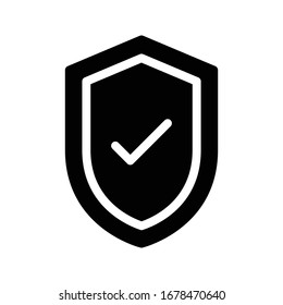 secure vector glyph flat icon