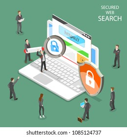 Secure web search flat isometric vector. People are searching information through internet using secure protocol HTTPS.