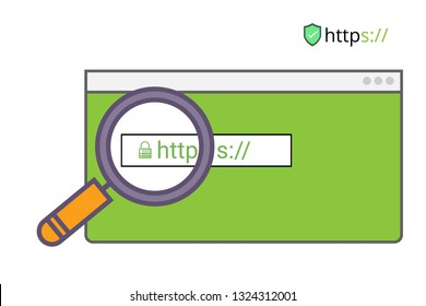 Secure your site with HTTPS / SSL, internet communication protocol that protects the integrity and confidentiality of data between the user's computer and the site. vector illustration