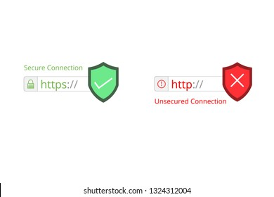 Secure your site with HTTPS / SSL, internet communication protocol that protects the integrity and confidentiality of data between the user's computer and the site url browser. vector illustration