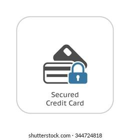 Secured Credit Card Icon. App Sign. UI symbol.Flat Design. Isolated Illustration.